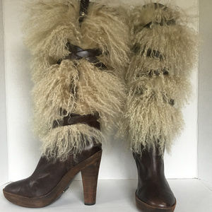 Cole Haan Mongolian Sheepskin & Leather Boots Sz6B